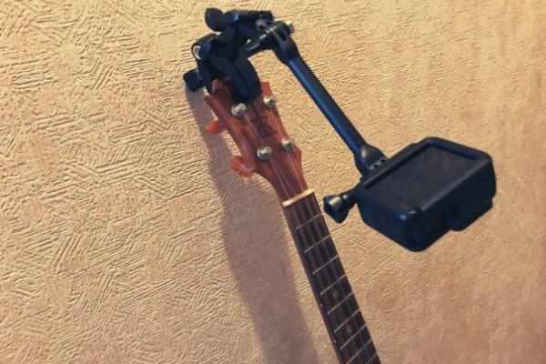 ウクレレのヘッドに楽器マウント(別角度)